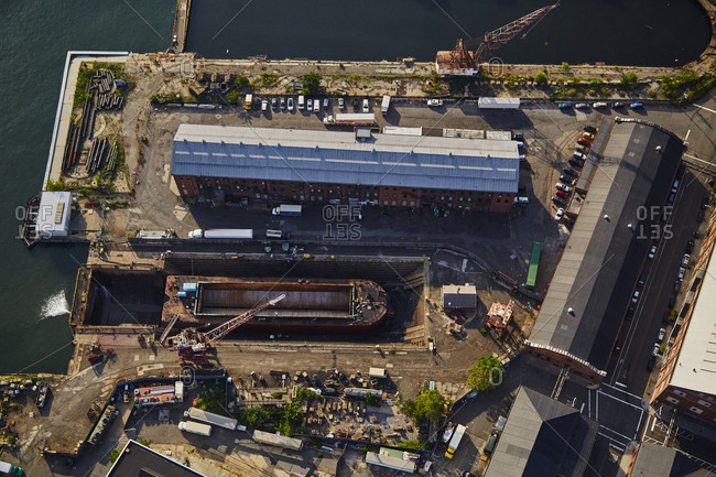 July 28, 2015: Birds eye view of a dry dock in New York City