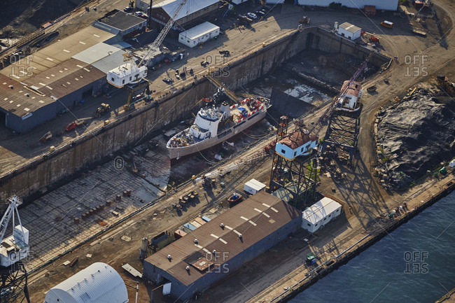 Aerial view of a dry dock in New York City