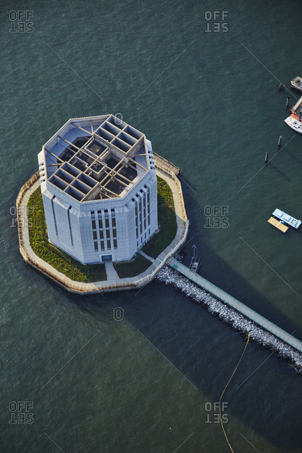 Birds eye view of Governors Island National Monument near New York City