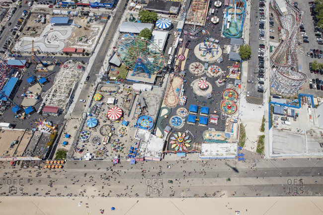 June 25, 2016: Aerial of Coney Island near New York City