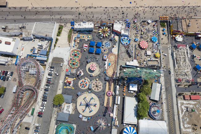 June 25, 2016: Aerial view of amusements at Coney Island near New York City