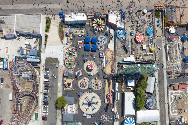June 25, 2016: Aerial view of amusement tents at Coney Island near New York City