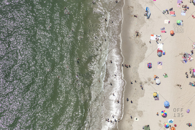 June 25, 2016: Aerial view of the beach along Coney Island