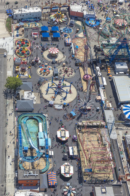 June 25, 2016: Overhead view of amusement tents at Coney Island near New York City