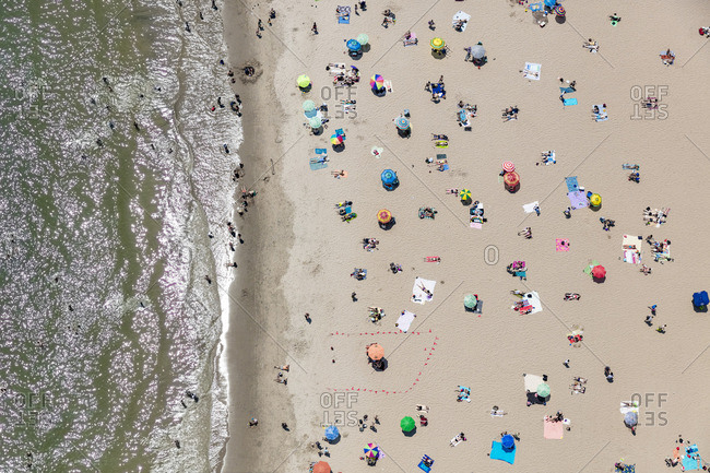 June 25, 2016: Overhead view of the beach along Coney Island