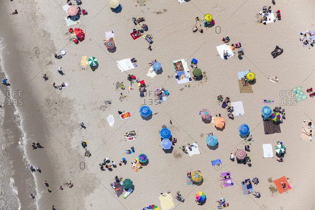 June 25, 2016: Birds eye view of the beach along Coney Island