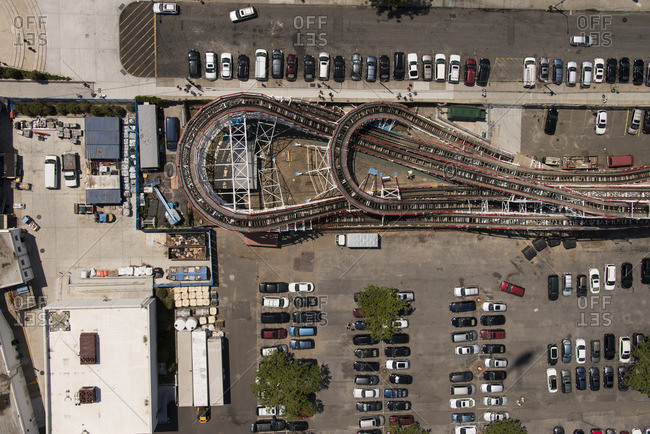 June 25, 2016: Overhead view of a rollercoaster at Coney Island near New York City