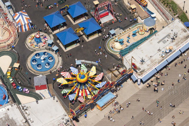 June 25, 2016: Overhead view of amusement tents and rides at Coney Island near New York City