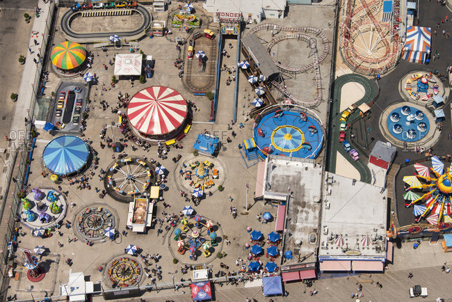 June 25, 2016: Aerial view of amusement tents and rides at Coney Island near New York City