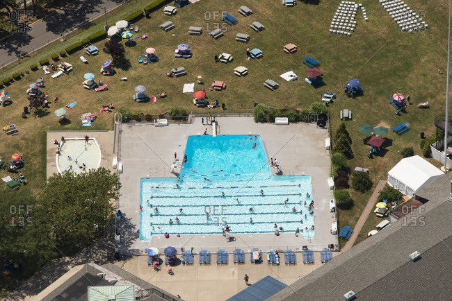 Aerial view of a swimming pool at Coney Island