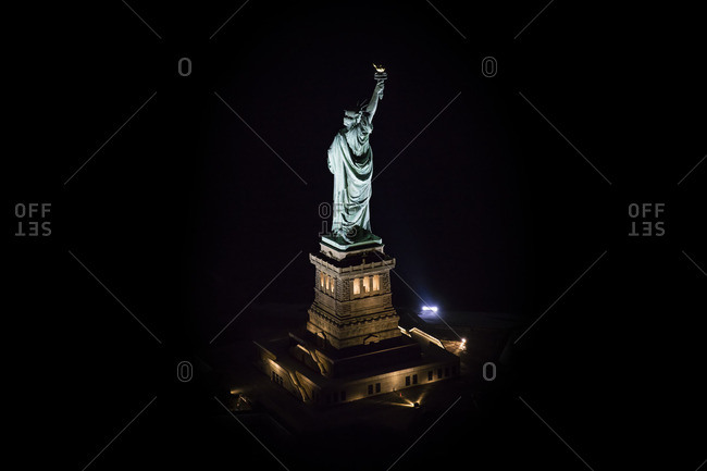 February 5, 2016: Aerial view of the Statue of Liberty at night
