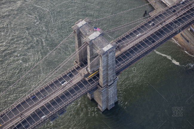 January 30, 2016: Aerial view of the Brooklyn Bridge