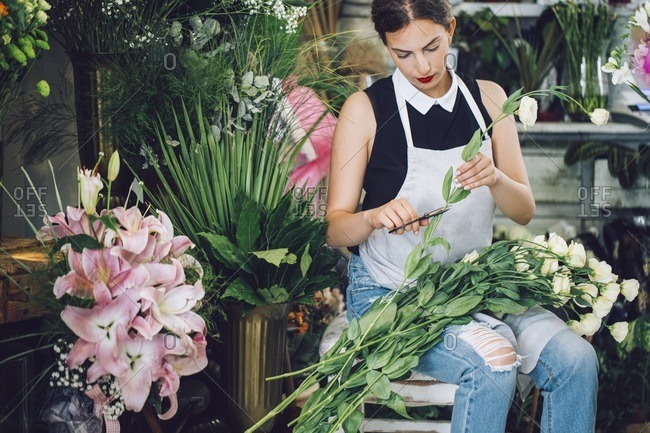 Florist cutting stems of roses in flower shop
