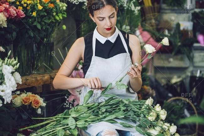 Female florist cutting stems of roses in flower shop