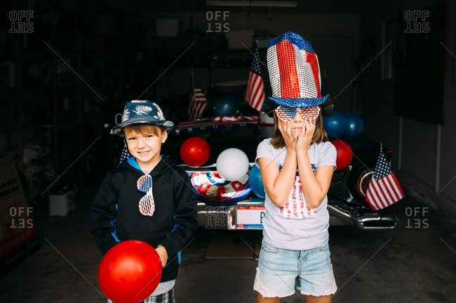 Two young children dressed for Independence Day