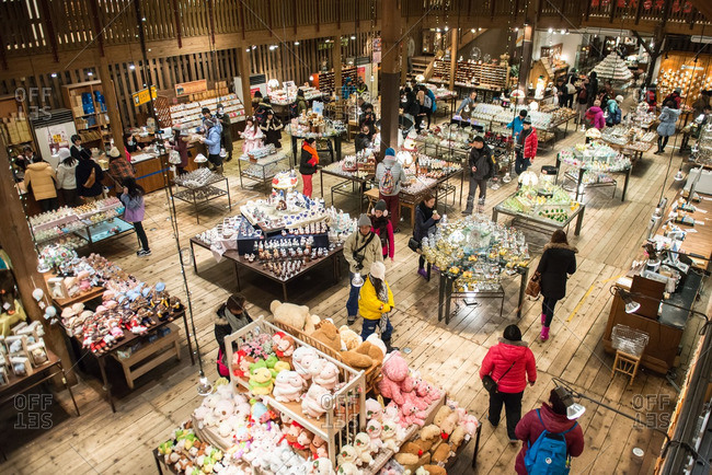 Sumiyoshi taisha, Japan - January 12, 2015: Elevated view of shoppers in a store in Japan