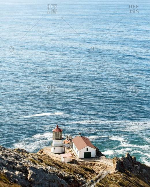 High angle view of Point Reyes Lighthouse, California