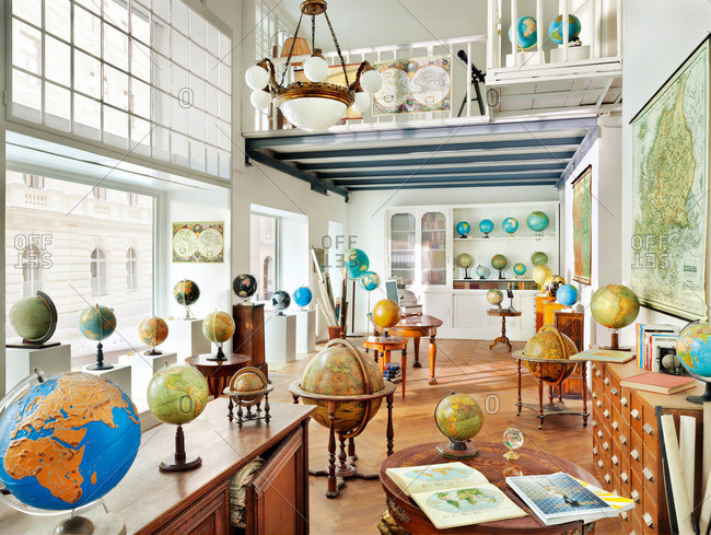 August 4, 2012: A room filled with globes and maps