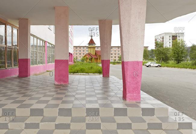 July 27, 2009: Hotel exterior in Polyarniy, Murmansk, Russia