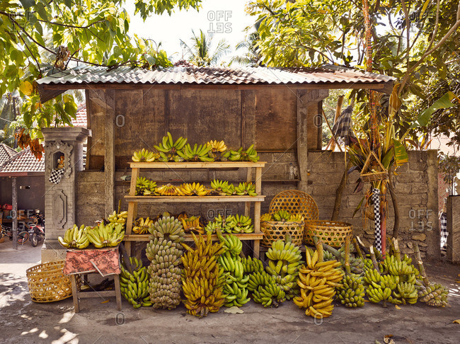 June 16, 2014: An outdoor fruit stand with bananas for sale