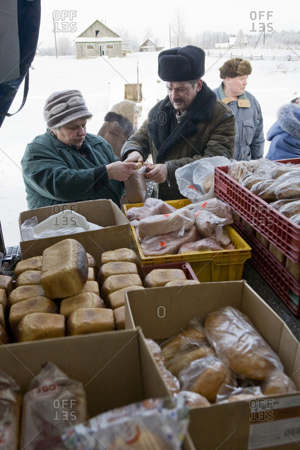 January 21, 2010: People buying food from the back of a truck on a winter day