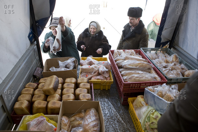 January 21, 2010: People buying food from the back of a truck