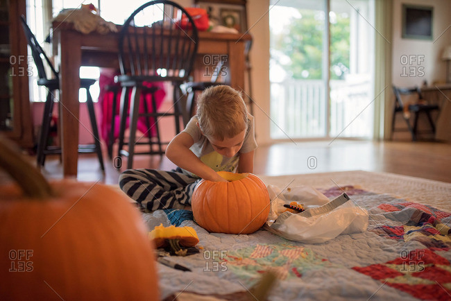 Boy scooping out a pumpkin on floor