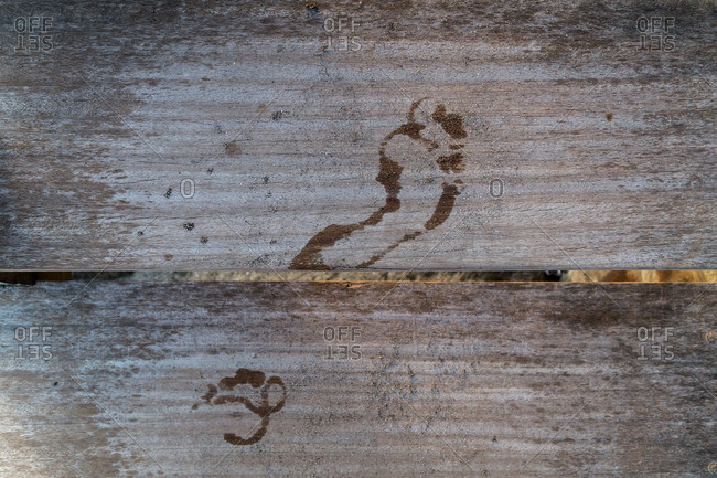 Wet footprints on wooden steps