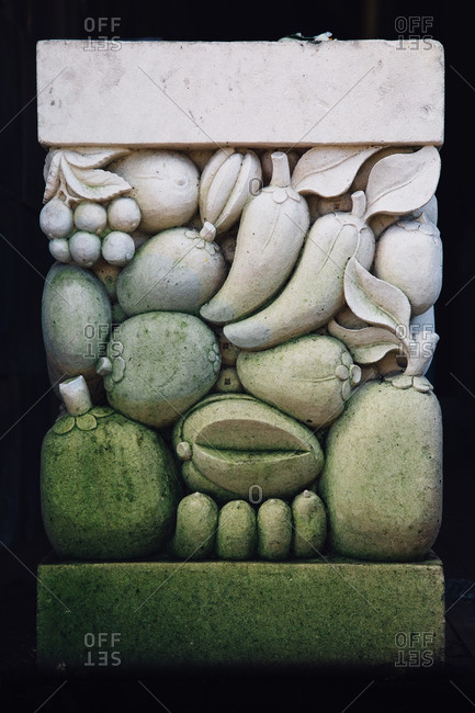 Stone carving of tropical fruits