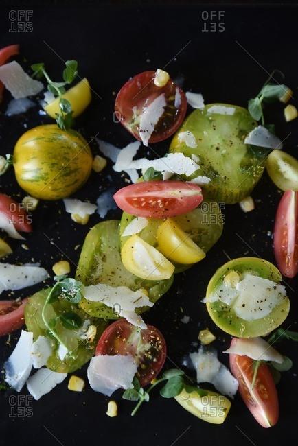Heirloom tomato salad with microgreens and summer corn