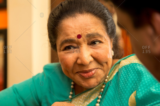 May 30, 2015: Close-up portrait of singer Asha Bhosle