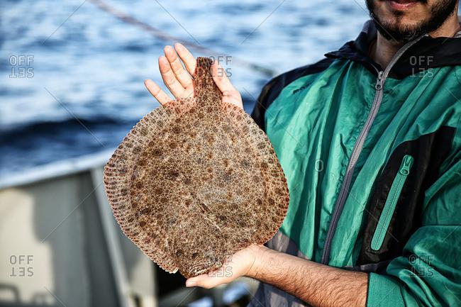Fisherman holding freshly caught kalkan on a boat