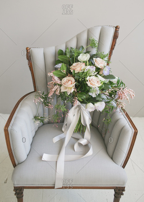 Bouquet of flowers in an armchair