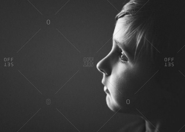 Portrait of a child daydreaming