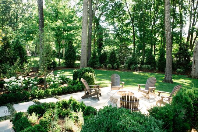 June 7, 2016: A seating terrace in rural yard