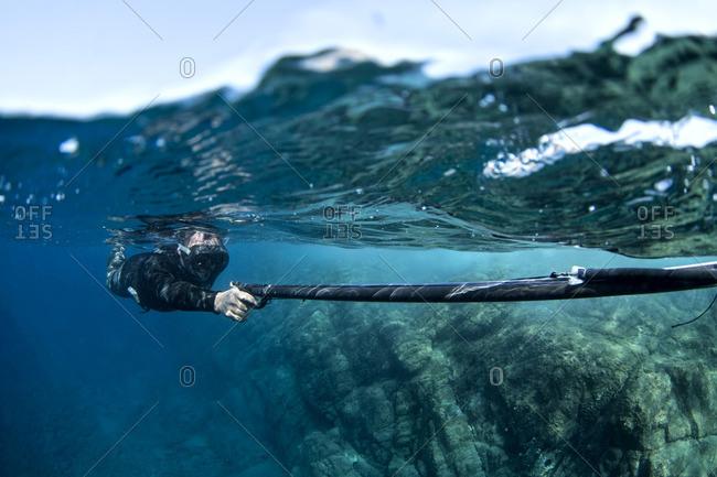 Snorkeler aiming his spearfishing gun