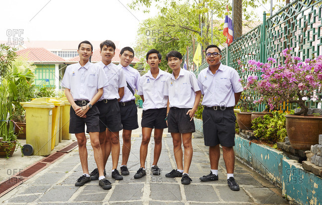 Bangkok, Thailand - March 30, 2016: Portrait of a group of local Thai school boys