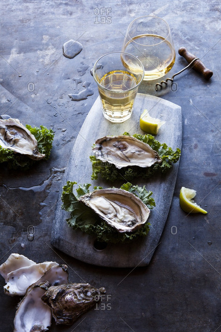 Oysters on a cutting board served with beer and champagne