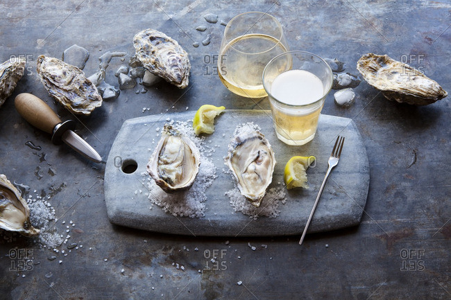 Oysters served with beer and champagne