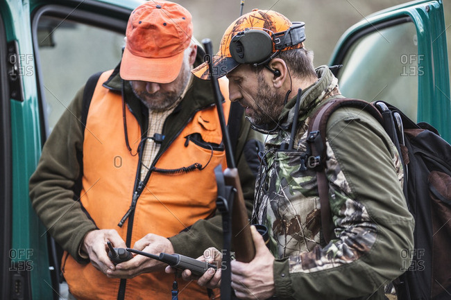 Hunters with warlike talkie