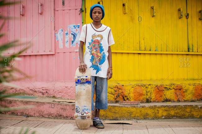 October 3, 2013: Ethiopian skater with his board