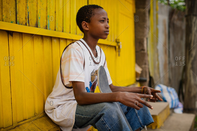 October 3, 2013: Ethiopian skater making peace sign