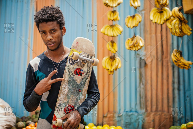 October 3, 2013: Ethiopian skater making hand gesture