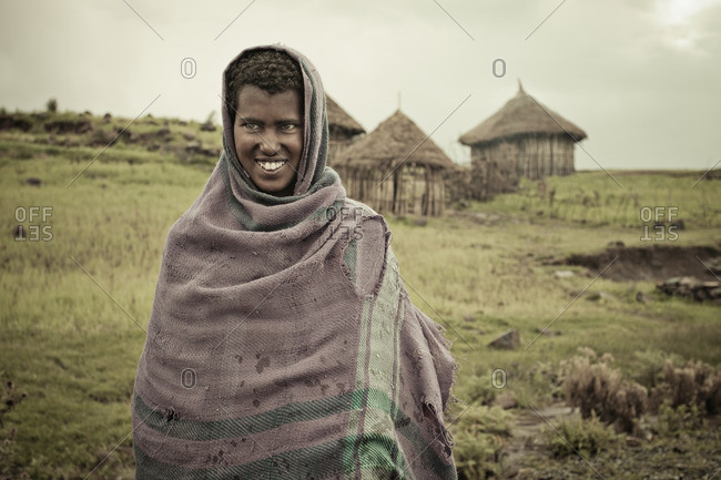 August 21, 2011: Girl in Ethiopia near huts