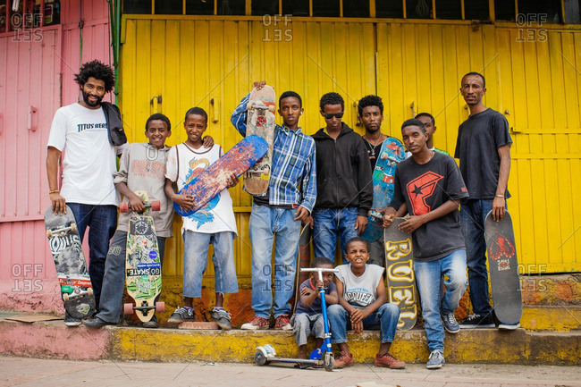 October 3, 2013: Group of skaters, Ethiopia