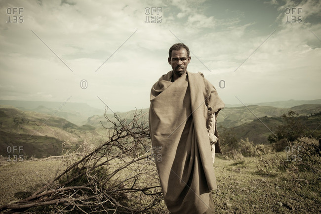August 21, 2011: Man in rural Ethiopian hills