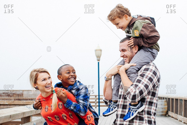 January 18, 2014: Interracial family on dock together