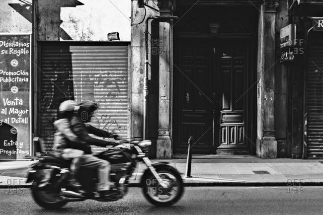 September 18, 2015: People riding motorcycle, Spain