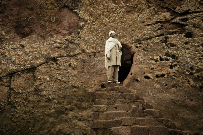 August 22, 2011: Man in Ethiopia on stairs