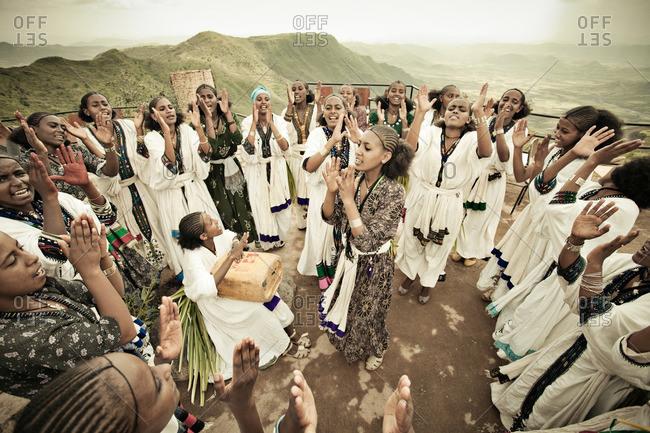 August 22, 2011: Women gathered in celebration, Ethiopia
